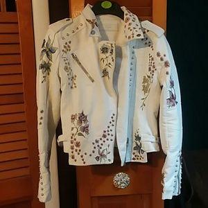 Off white leather biker floral jacket.